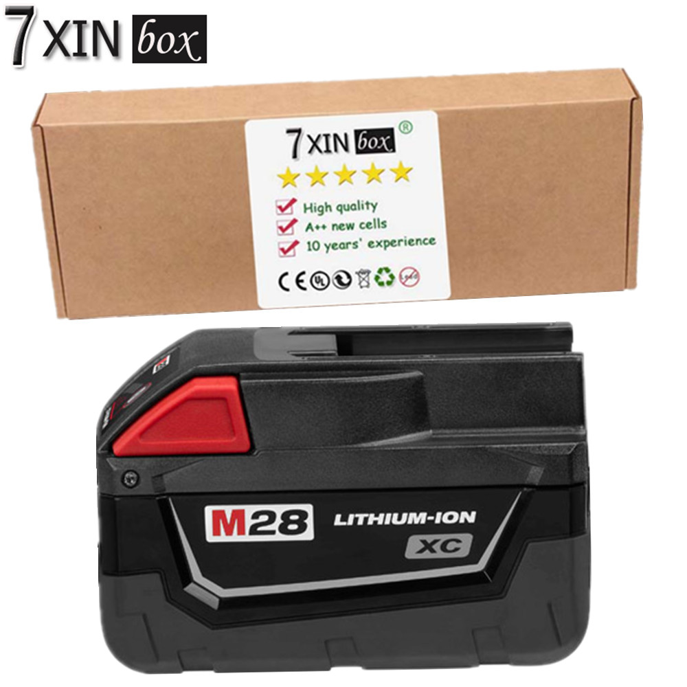7XINbox 28V 3000mAh For Milwaukee M28 48-11-2830 V28 Cordless Li-Ion Power Tool Rechargeable Batery Pack Used With Good Quality
