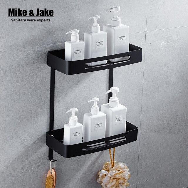 Rvs 304 Zwart Badkamer Hoekplank Douche Rack Voor Lichaam