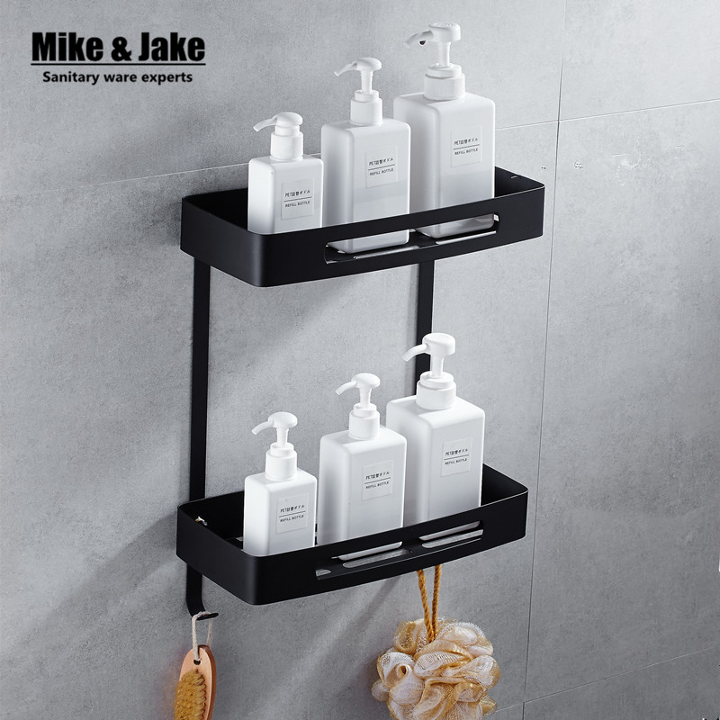 Online Shop Stainless steel 304 Black bathroom corner shelf shower ...