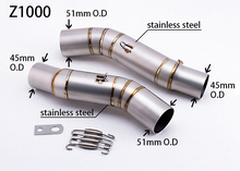 Motorcycle Modified Exhaust Middle Pipe Muffler For Z1000 2010-2014 z1000 link pipe stainless steel fit for 51mm muffler
