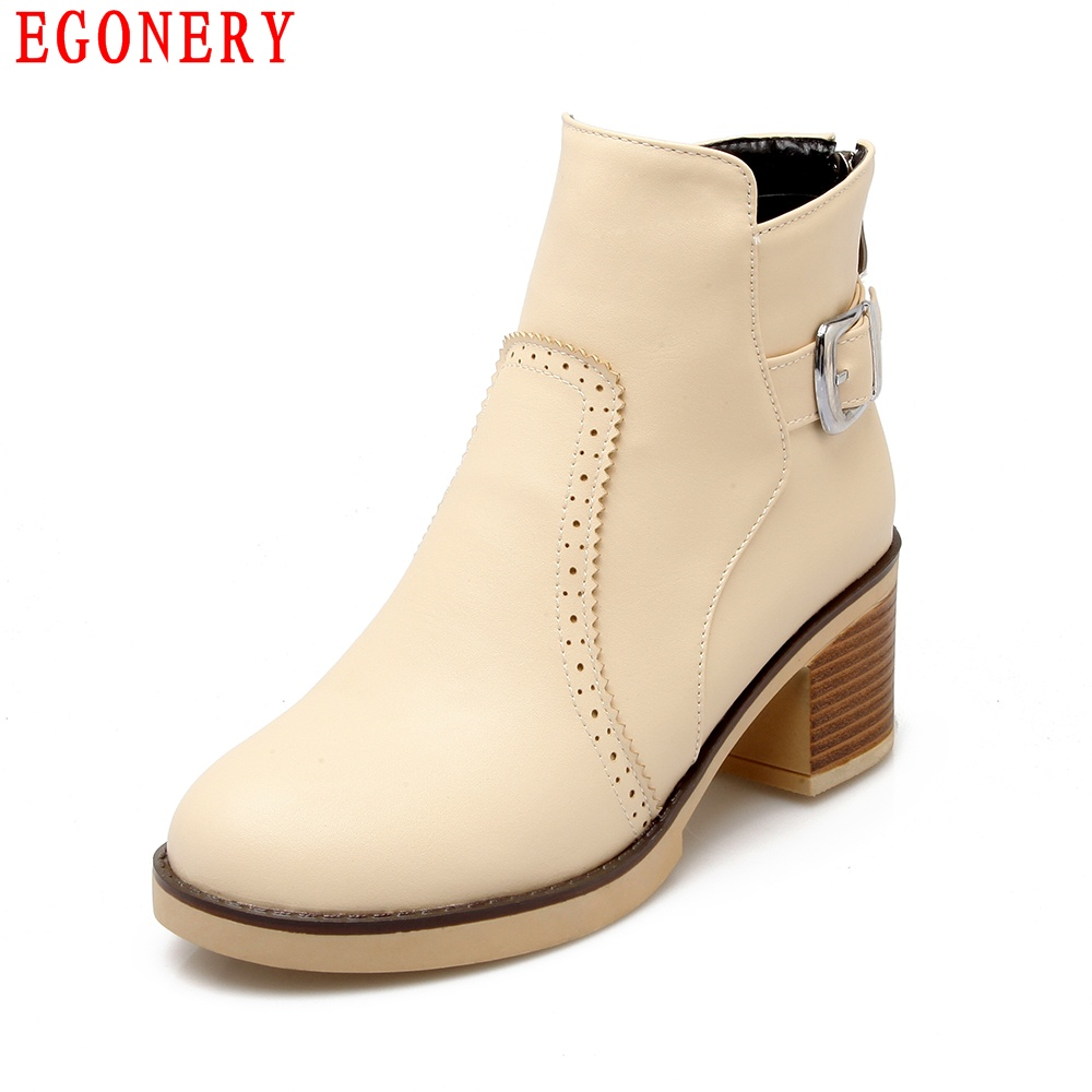 ФОТО Casual Round Toe Thick High Heels 6cm Zipper Ankle Womens Boots Spring Rubber Sole Cut-out Riding Boots Spring