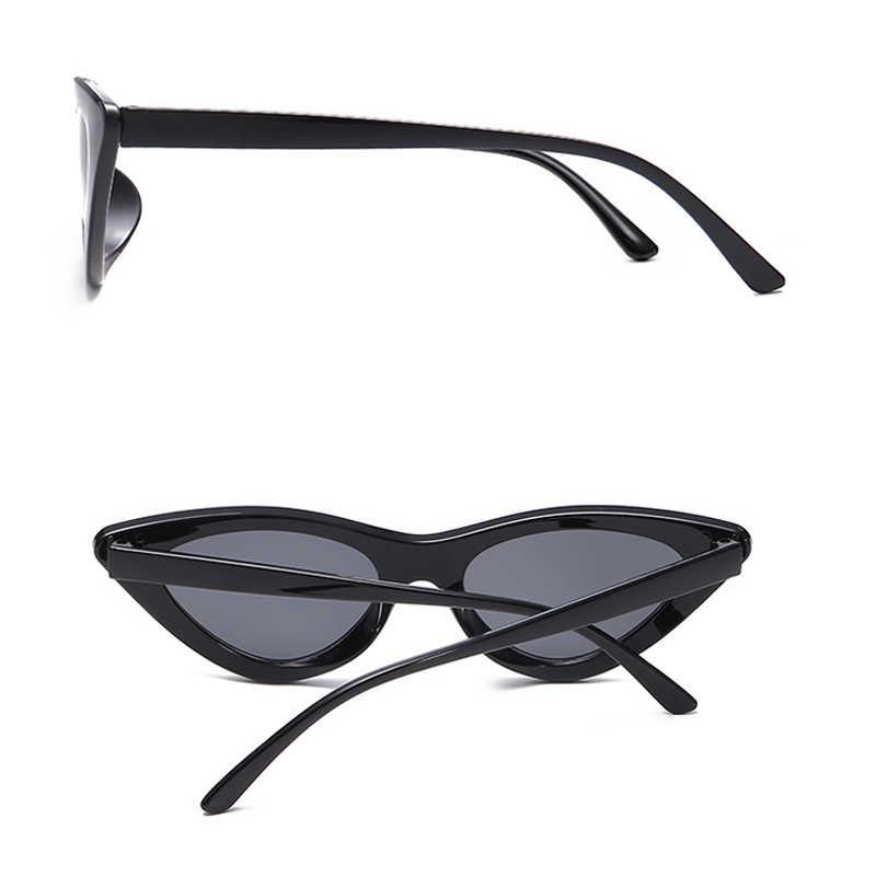 2018 de ojo de gato de moda pequeños gafas de sol de las mujeres hombres, diseñador de marca, UV400 gafas de sol tonos marco de la PC lente plana, gafas de sol feminino