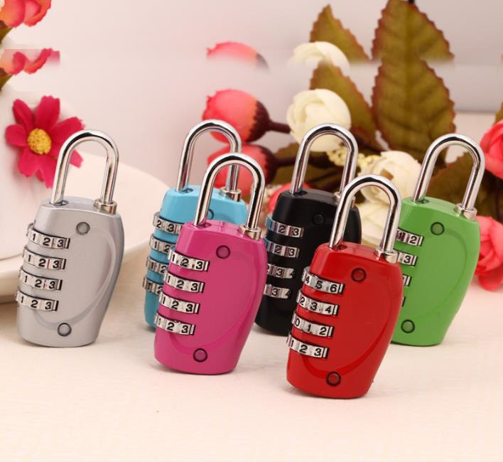 200pcs/lot New 4 Dial Digits Password Padlock Luggage Lock For Travel Safety and Security Lock Safe SN1214