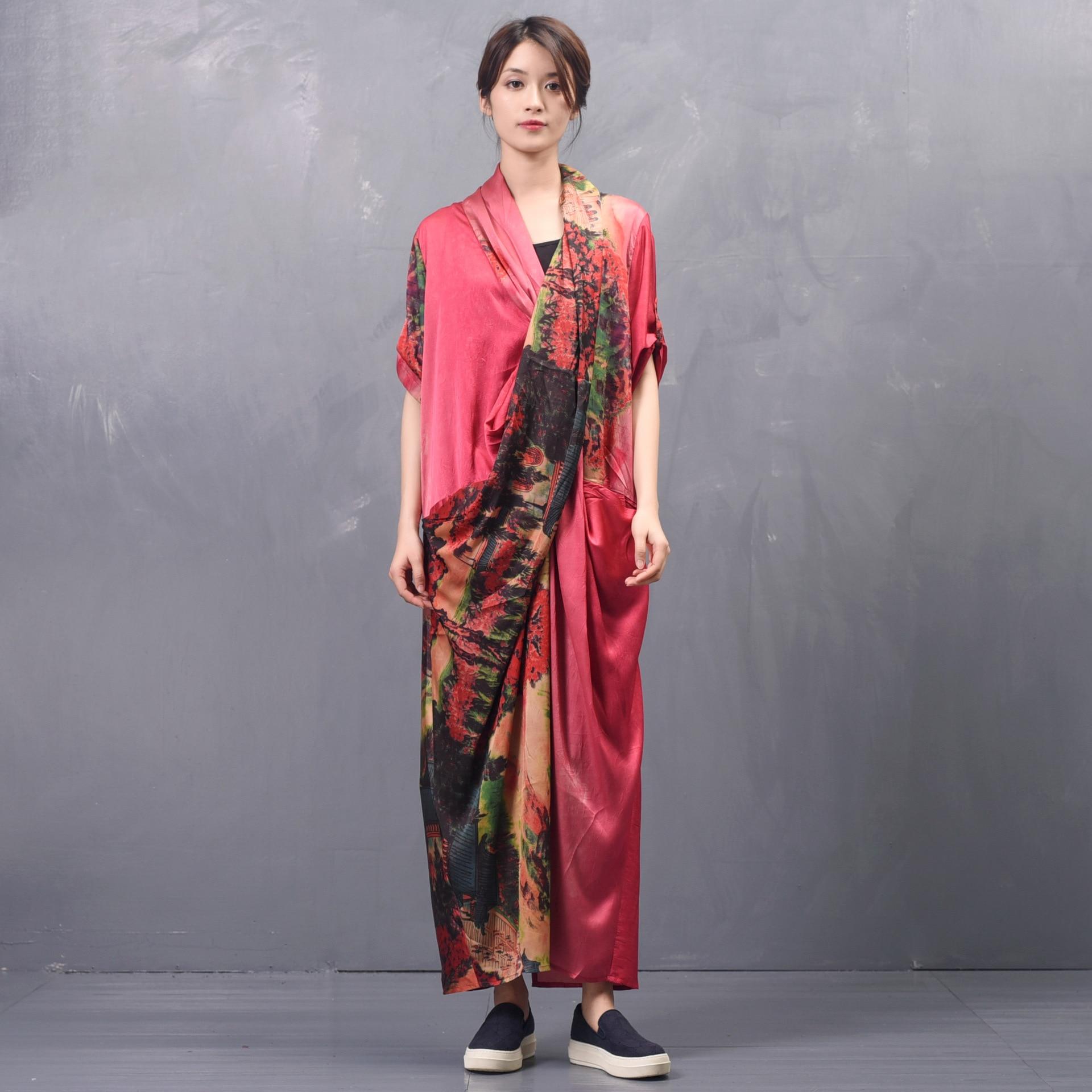 Kadın Giyim'ten Elbiseler'de Kadın İlkbahar Yaz Çapraz Gevşek Elbise Bayan Baskılı Zarif Elbise Kadın Baskı Patchwork Elbiseler 2019 Düzensiz Uzunluk Elbise'da  Grup 2