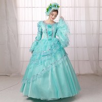 Pure Color Medieval Renassiance 18th Century Rococo Marie Antoinette Party Dresses For Women
