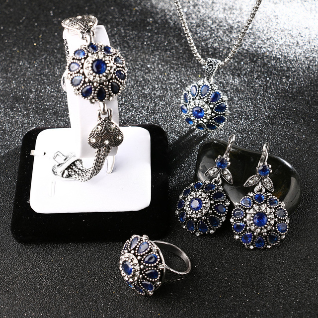 Silver Plated Four Pieces Vintage Jewelry Set