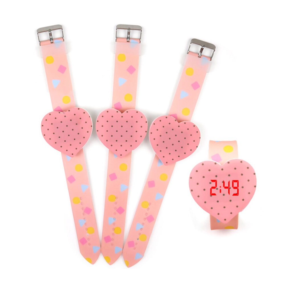 Cartoon Silicone Heart Dial Children's Watches Candy Color LED Digital Watches For Girls Boys Clock Touch Screen Watch Relogio