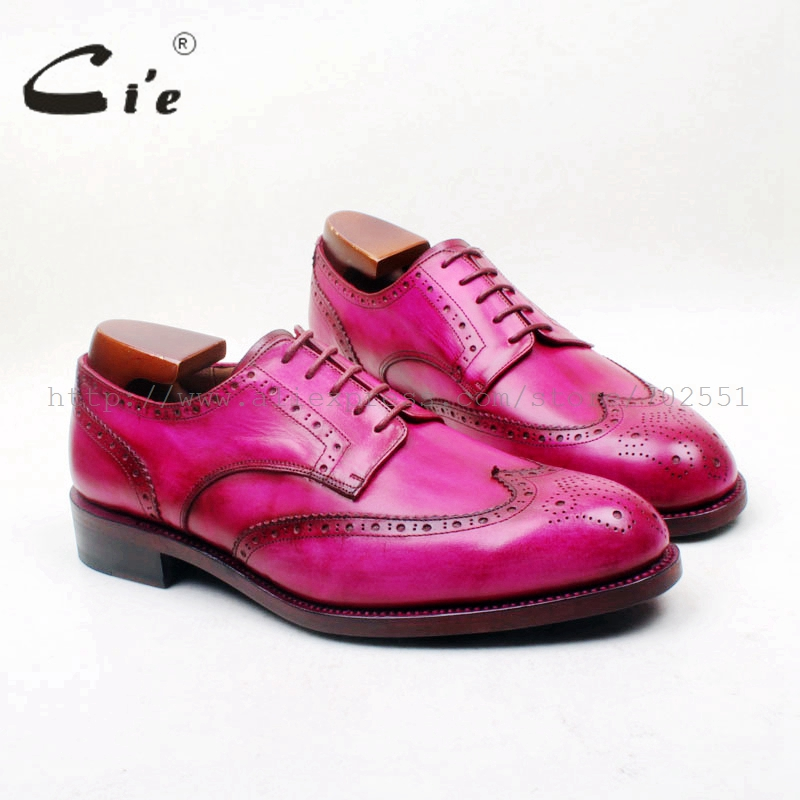 cie Round Toe Full Brogues Hand Painted Color Rose Red 100 Genuine Calf Leather Breathable Outsole