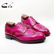 cie Round Toe Full Brogues Hand-Painted Color Rose Red 100%Genuine Calf Leather Breathable Outsole Bottom Men Dress/Causal D228