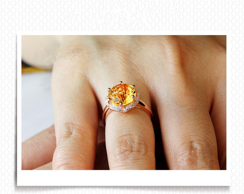 S925 bagues en argent pour femmes Citrine naturelle pierres précieuses Sterling bijoux fins 18 K or Rose Rectangle mariée mariage Bijouterie - 6