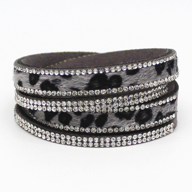 New Arrived Sexy Leopard Bling Rhinestone Double Wrap Bracelet For Women Leather Wrap Bracelet Wristband Crystal Charms Chokers 2