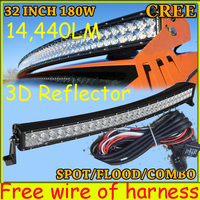 Free DHL UPS Fedex Ship 32 180W 14440LM 10 30V 6500K LED Working Bar 3D Reflector