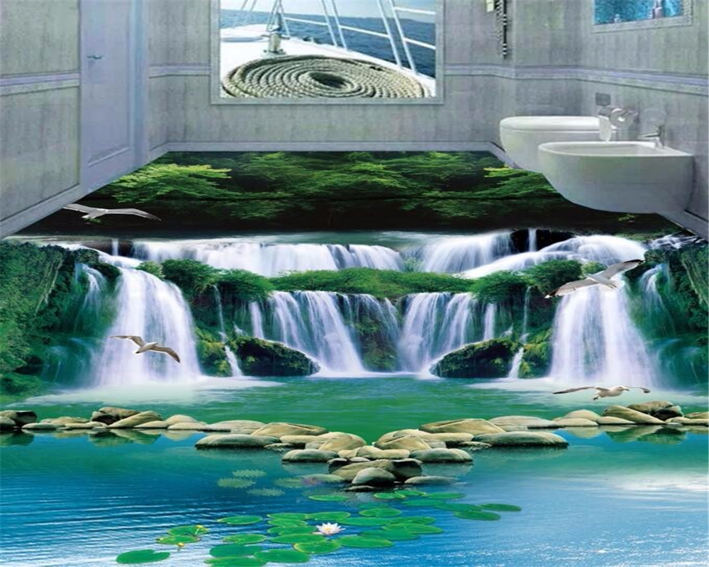 Beibehang Customized Groundwater Waterfall Forest Green Wallpaper Fantasy 3D Bathroom Floor Bedroom Selfadhesive 3d flooring nicholas p cheremisinoff groundwater remediation and treatment technologies
