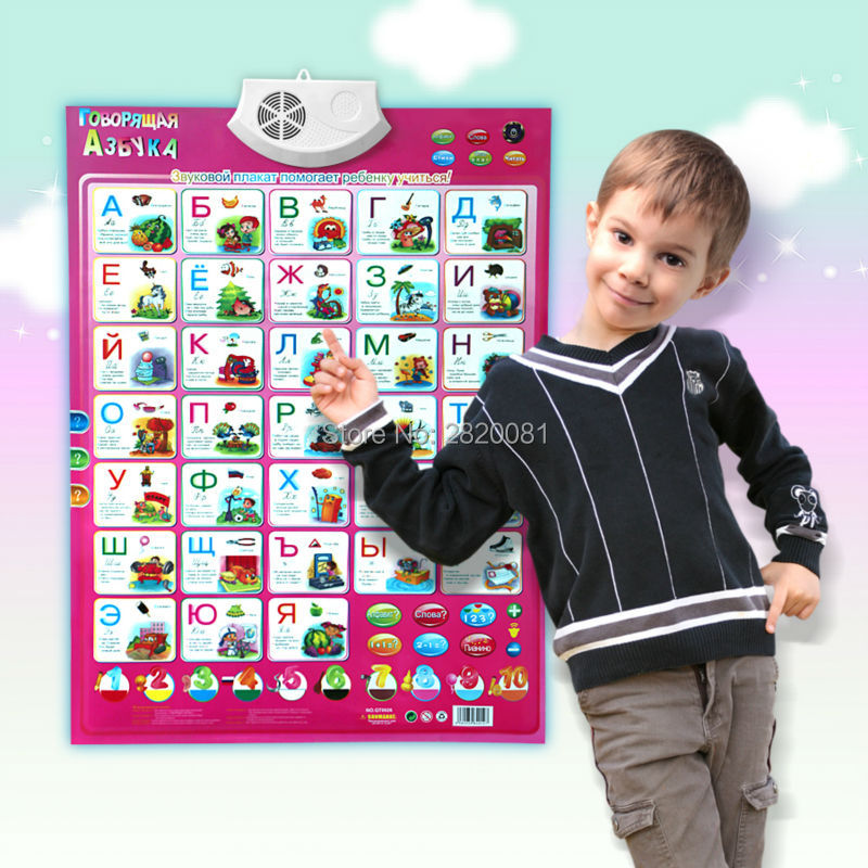 Russian language Phonic Wall Hanging Chart learning toys,children's educational multifunction letter alphabet wall map music toy learning carpets us map carpet lc 201