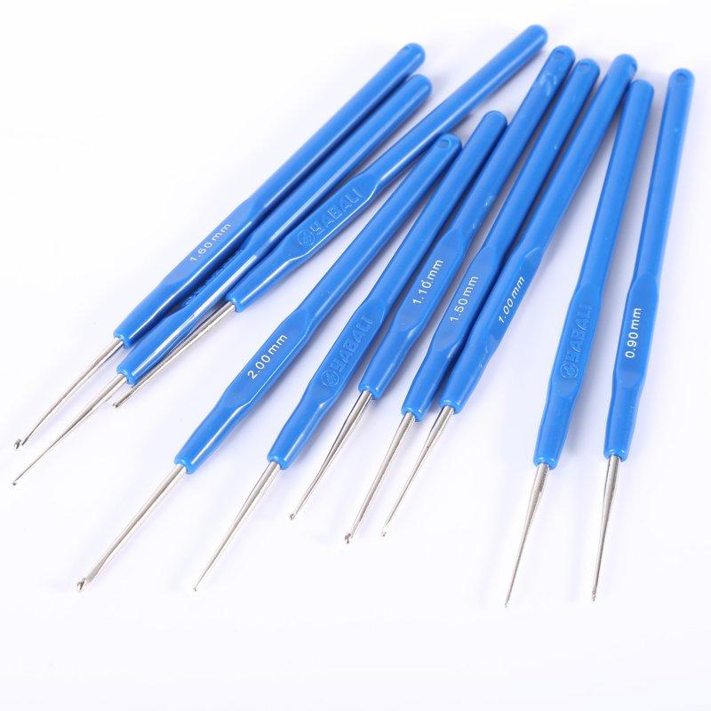 10 шт./лот полезные Вязание инструменты свитер иглы Синий Ручка крючком имитация Кокс крючком