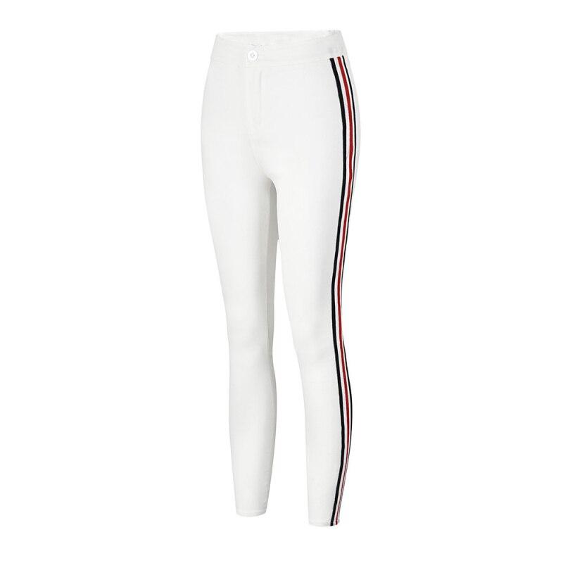 Ladies Side Striped Skinny Pants High Waist Workwear Woman Pants Casual Women Autumn Black Zipper Fly Skinny Trousers