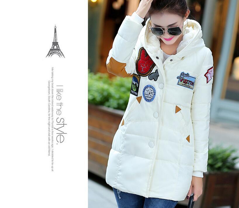 M-XXL Baskı moda kapüşonlu kış ceket Koreli kadın rahat kış ceket ceket ve uzun bölümler kadın Ceketler YR025