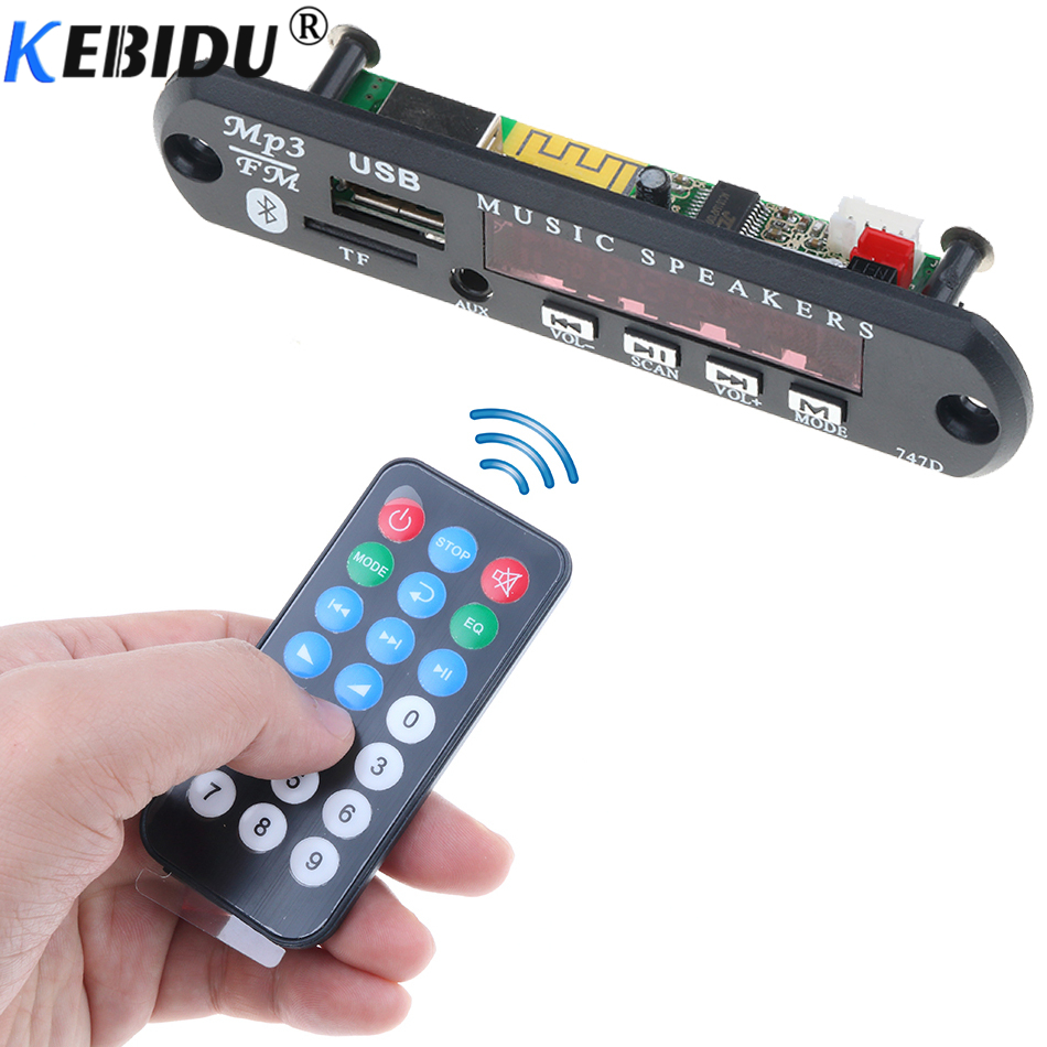 Kebidu Wireless Bluetooth DC 5V 12V USB FM TF Radio MP3 Decoder Board Module Audio MP3 Player For Car Remote Music Speaker Phone(China)