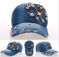 2014 New Retail AB rhinestone cowboy baseball diamond ax point drill baseball cap hat men and women free shipping