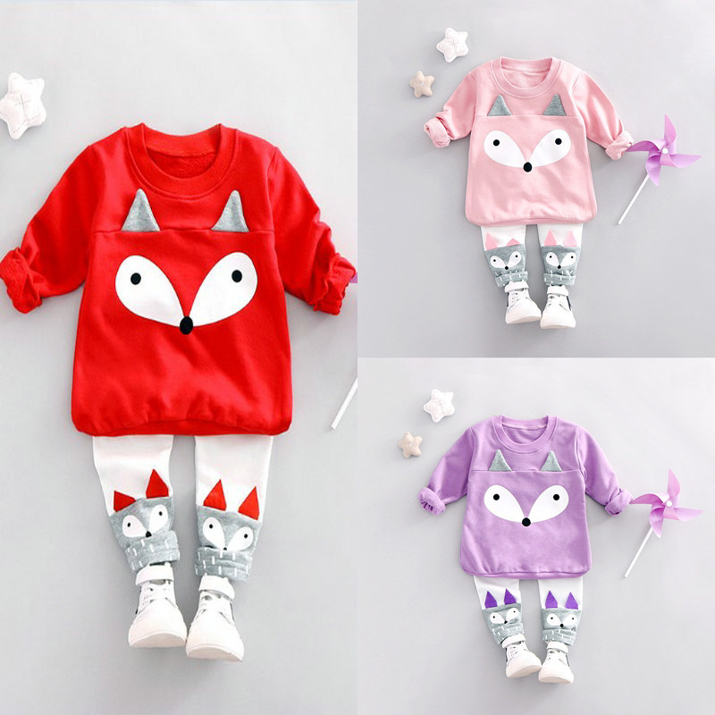 Spring Newborn Baby Clothes Set 2PCS Cotton Baby Girls Cartoon fox Winter Baby Girl Clothing Sets Infant Clothing newborn infant baby girls boys spring short sleeves cotton clothes suit 2 pcs baby unisex cartoon casual strapped clothing set