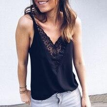 2019 New Sexy Lace Strap Camis Women Tops Chiffon Shirts Plus Size Black White Pink V-neck Cami Ladies Tank Top Ruffles Blusas недорого