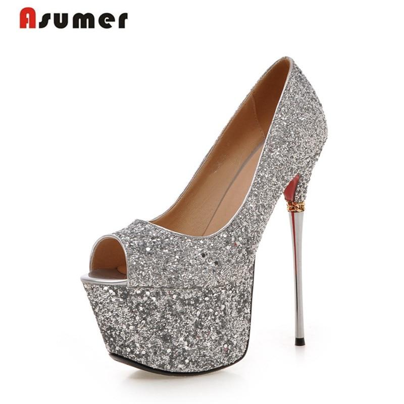 Asumer высокое качество большой размер 32-43 тонкие каблуки женщины насосы острым носом супер высокий каблук мода ну вечеринку обувь блеск платформы