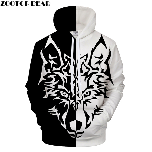 89ef6a7935 Yin Yang Wolf Men Women Printed Hoodies Double Wolf Sweatshirt Brand Pullover  3D Hoodie Tracksuits Animal