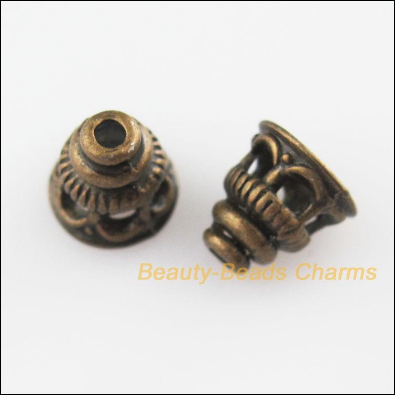 15 New Charms Tibetan Silver Tone Flower Cone End Bead Caps 7.5x9mm