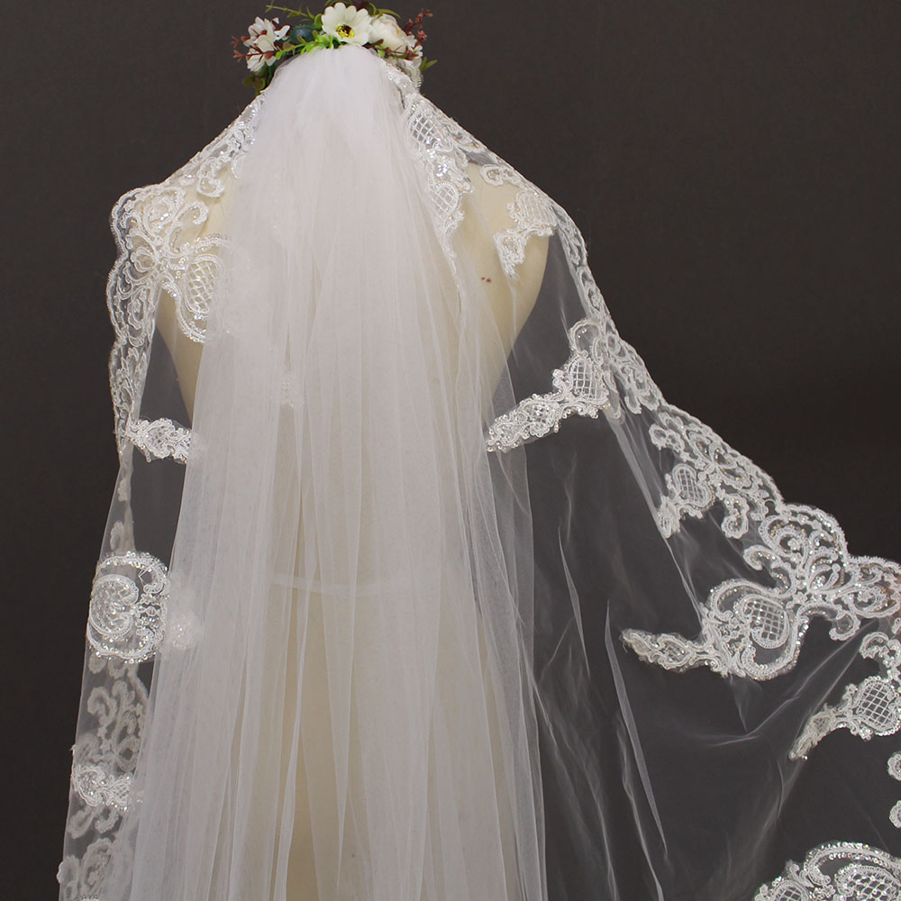 2019 One Layer Lace Edge 3 Meters Bling Sequins Cathedral Veil Dasma - Aksesorë dasme - Foto 5