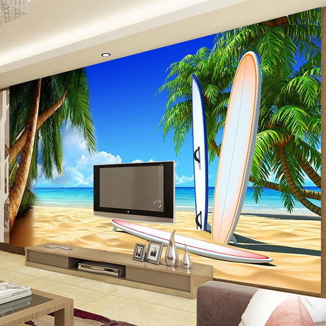 custom any size 3d mural wallpaper seaside landscape beach photo wall painting theme hotel home decor