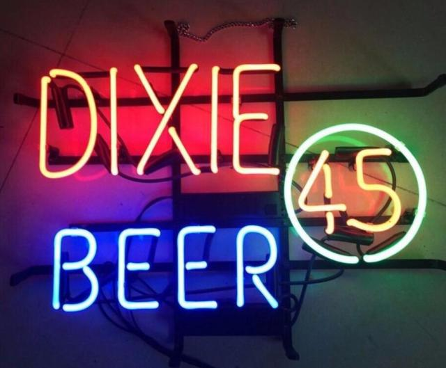 Custom DIXIE 45 BEER Glass Neon Light Sign Beer Bar