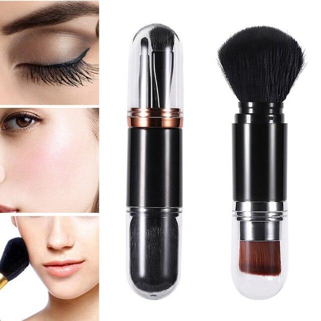 Venta caliente 1 pc multifunción brocha de maquillaje portátil doble cara sombra de ojos cepillo con tapa herramienta cosmética