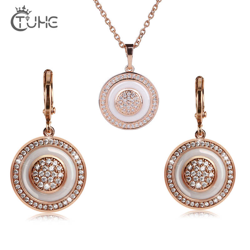 Crystal Wedding Jewelry Sets For Women Gold Round White Healthy Ceramic Pendant Necklace Earrings Ring Set Wedding Jewelry Gift