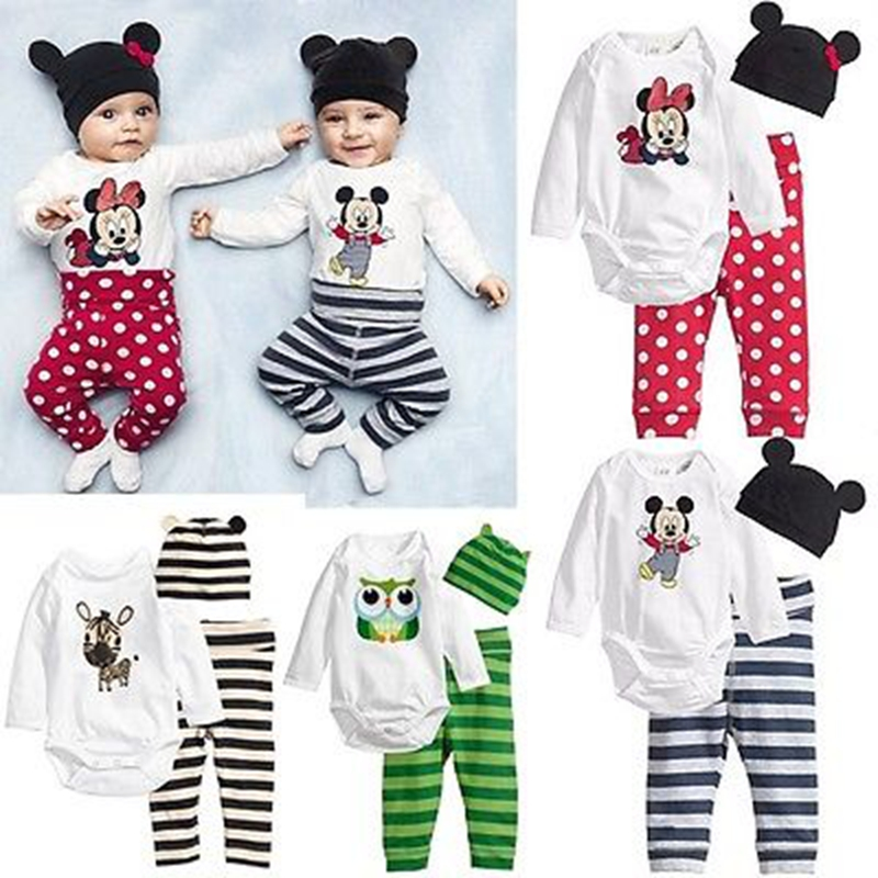 3PCS Newborn Spring Cotton Stripes Children Baby Boys Girls Sets Clothes O-Neck Clothing Sets Boy Long sleeve Romper +Hat+Pants cotton baby rompers set newborn clothes baby clothing boys girls cartoon jumpsuits long sleeve overalls coveralls autumn winter