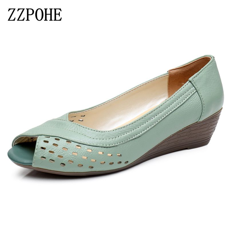 ZZPOHE 2017 Summer New women shoes Genuine leather casual women's wedges shoes Open Toe Mother Plus Size Sandals Free Shipping summer shoes woman platform sandals women soft leather casual open toe gladiator wedges women nurse shoes zapatos mujer size 8
