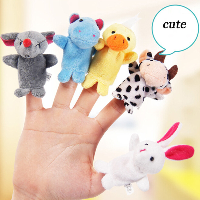10 Pcs Small Animals Finger Dolls Toys Puppets Cute Small Animal Finger Doll Double Fabric Smooth Thread Finger Puppets FZH