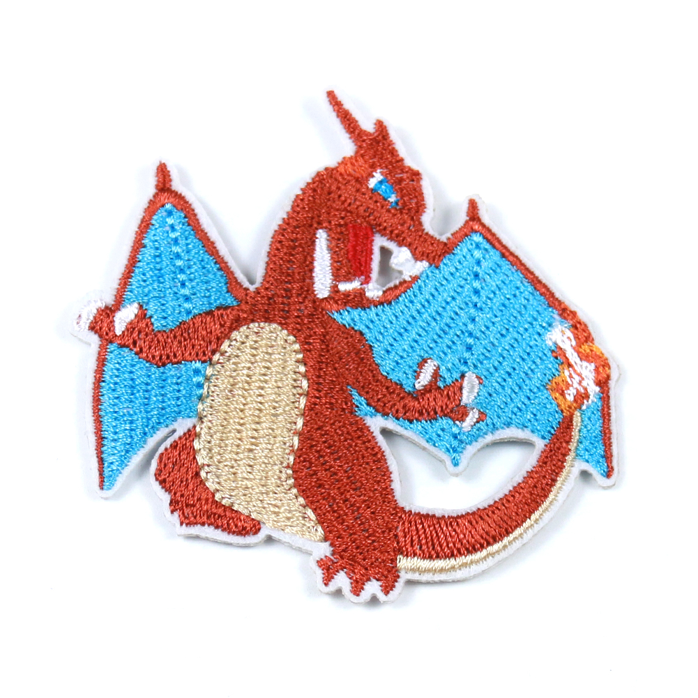 Charizard Pokemon Go Team Cosplay Embroidery Patch High quality Cartoon Fire Dragon Badge Iron on Patches for Clothing 65*63mm image
