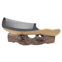 Natural Horn And Green Sandalwood Wooden Hairbrush Anti Static Professional Wood Combs For Women Hair