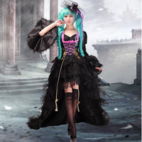 High Quality Vocaloid Miku Cosplay Costume Anime Lolita Dress Cosplay Wig Halloween Costume Dress Hat