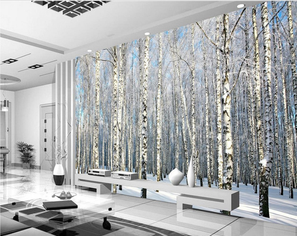 online get cheap snow forest wallpaper aliexpress com alibaba group 3d mural paintings tv backdrop of snow birch forest landscape papel parede mural wallpaper china