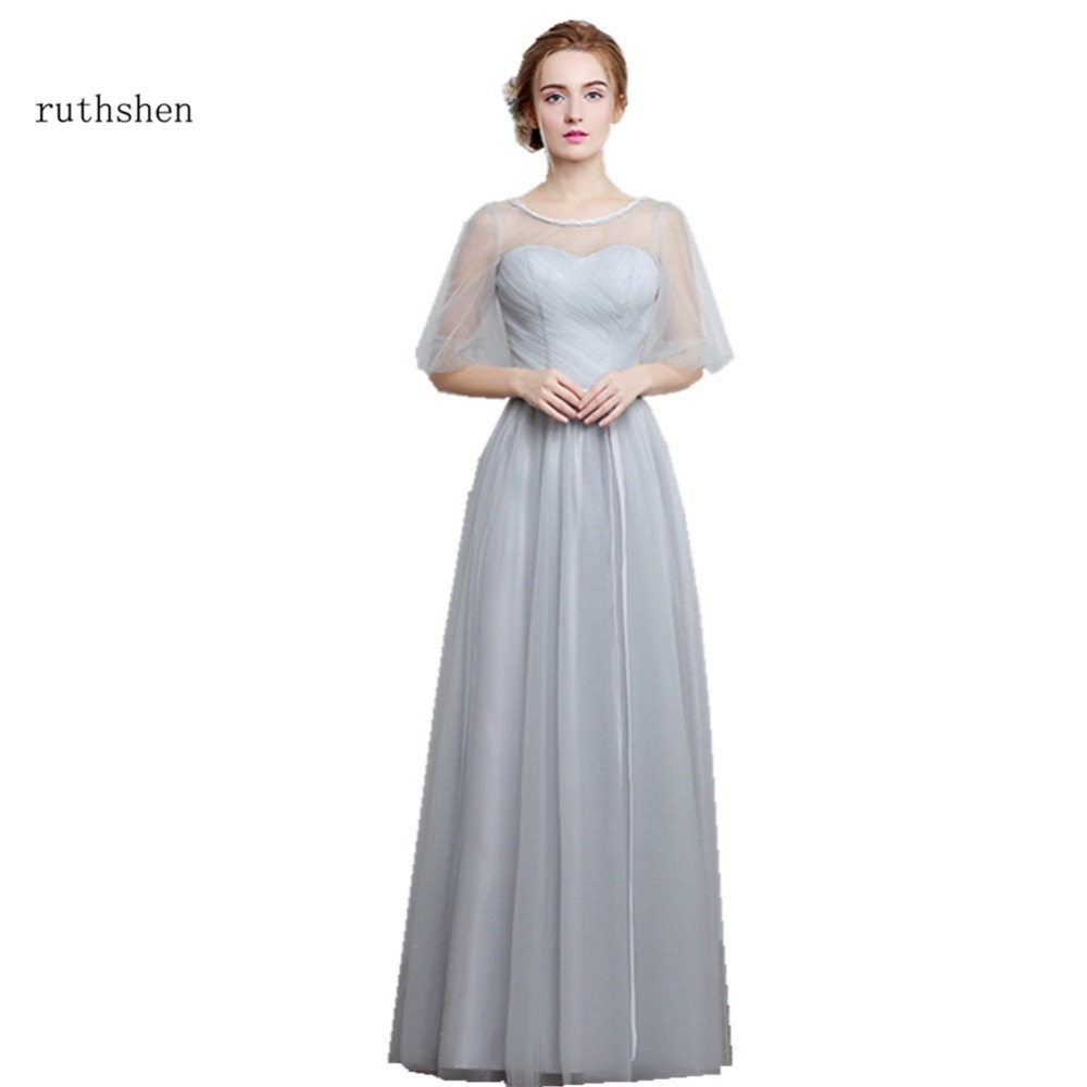 Online get cheap silver wedding dresses aliexpress alibaba ruthshen bridesmaid dresses long 2017 new designer pink silver wedding party dresses vestido madrinha rose ombrellifo Image collections