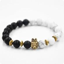 KYSZDL New lava volcanic stone white turquoise energy bracelet crown lion head round beads jewelry wholesale