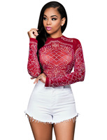 Women Sequin Mesh Patchwork T Shirt Long Sleeve Fashion See Through Shirts Black Red Blue O