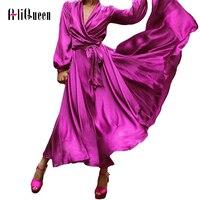 Women Boho Dress 2019 Autumn Red Sexy Beach Dress Maxi Ladies Purple Long Sleeve Elegant Casual Dresses For Women 3XL Plus Size