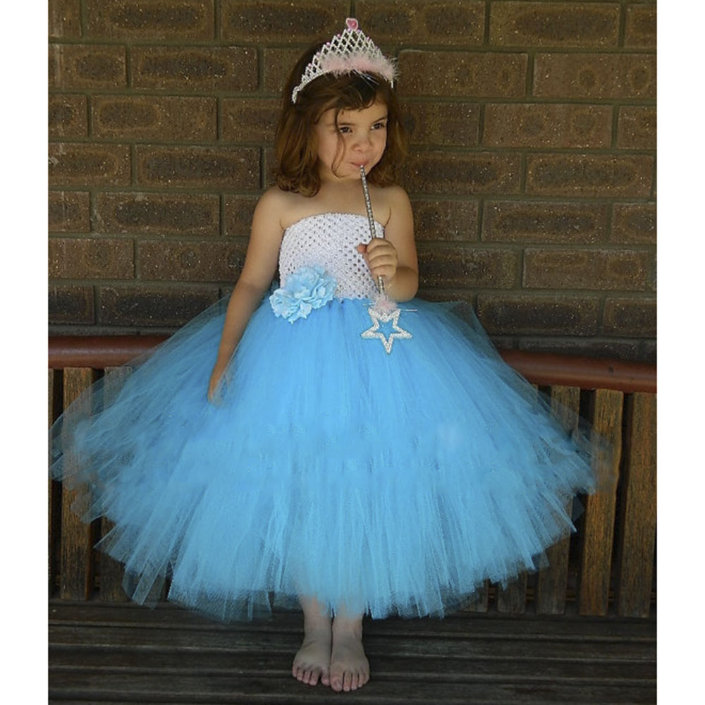 Aqua Blue Tutu Dress White and Blue Kids Dress For Wedding Girls ...