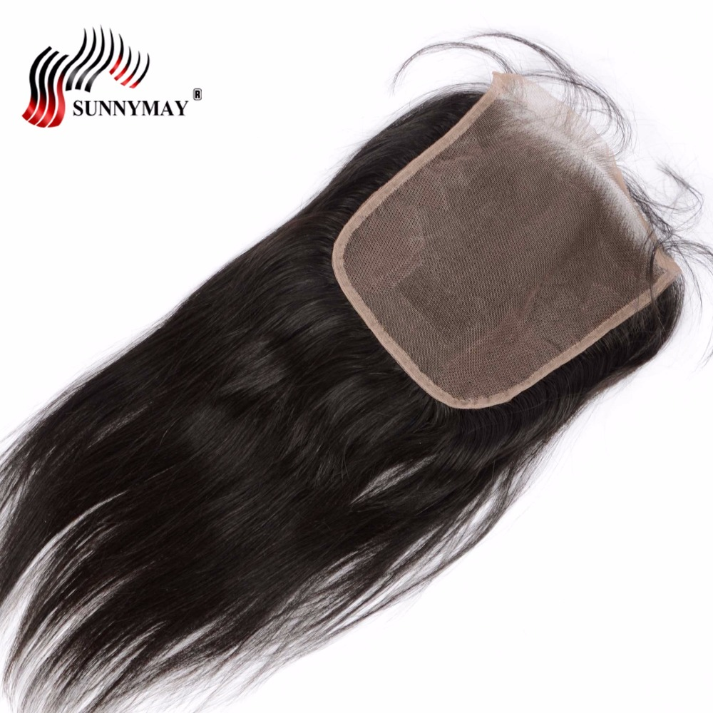 Sunnymay 6x6 Closure Indian Virgin Hair Straight Pre Plucked Lace Frontal Closure Bleached Knots In Stock
