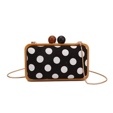Vintage Dot Women Crossbody Bags Fashion Wooden Clip Shoulder Bags Designer Luxury Evening Clutch Bag Chains Purses Small Flap(China)