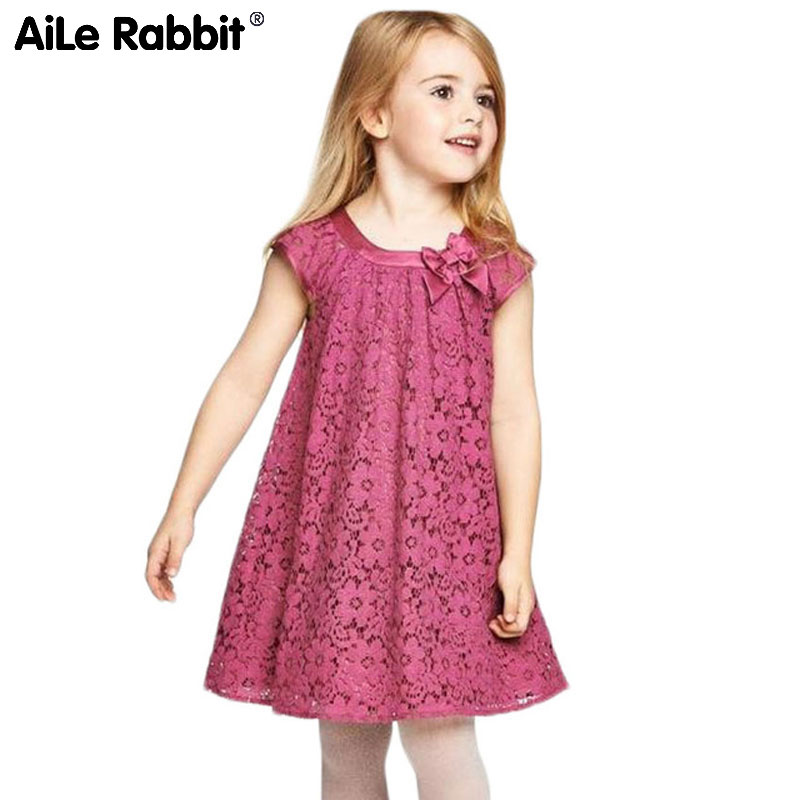 AiLe Rabbit Summer Style Lace Girls Dress Baby Girls Casual Dresses Children's Clothing Vestidos Infantis Toddler Girl Clothing aile rabbit summer 2016 new baby boy pattern rabbit toddler plaid kids clothes children clothing set