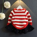 2016 Autumn New Korean Version of The Female Children's Clothing Baby Ears Hooded Striped Knit Cape Sweater Cloak Shawl YD020