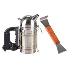 ФОТО electric bee smoker beekeeping tool equipment + wood handle hive tools